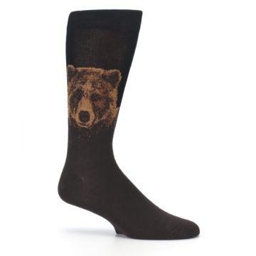 Image of Brown Black Grizzly Bear Men's Dress Socks (side-1-25)
