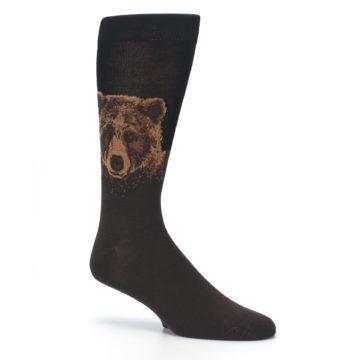 Image of Brown Black Grizzly Bear Men's Dress Socks (side-1-26)