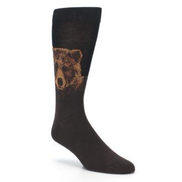 Image of Brown Black Grizzly Bear Men's Dress Socks (side-1-27)
