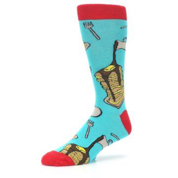 Image of Teal Red Breakfast Pancakes Men's Dress Socks (side-2-09)