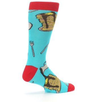 Image of Teal Red Breakfast Pancakes Men's Dress Socks (side-1-23)