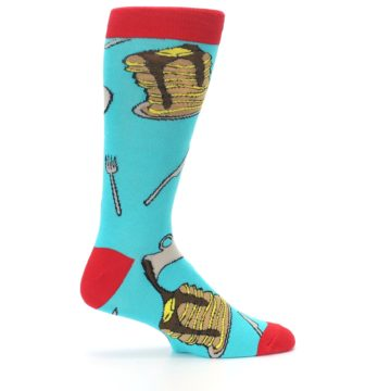 Image of Teal Red Breakfast Pancakes Men's Dress Socks (side-1-24)