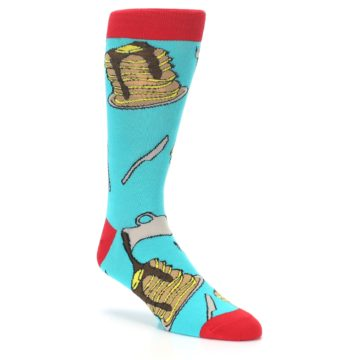 Image of Teal Red Breakfast Pancakes Men's Dress Socks (side-1-27)