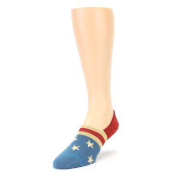 Image of Red Blue American Flag Men's Liner Socks (side-2-front-07)