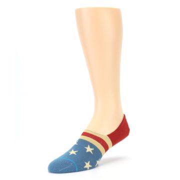 Image of Red Blue American Flag Men's Liner Socks (side-2-front-08)