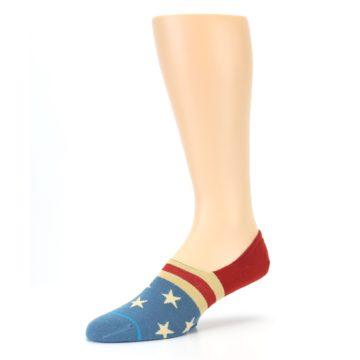 Image of Red Blue American Flag Men's Liner Socks (side-2-09)