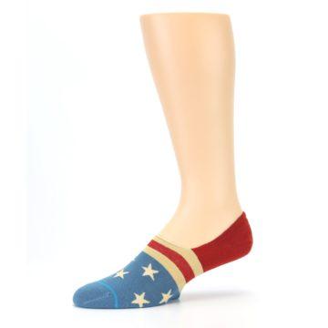 Image of Red Blue American Flag Men's Liner Socks (side-2-10)