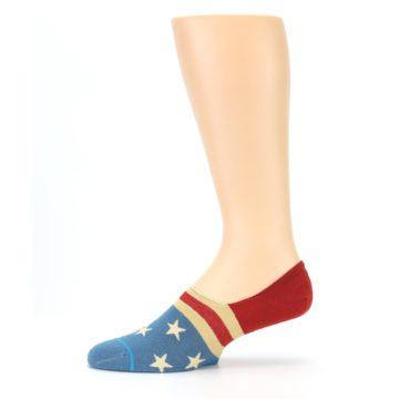 Image of Red Blue American Flag Men's Liner Socks (side-2-11)