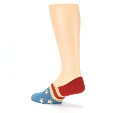 Image of Red Blue American Flag Men's Liner Socks (side-2-back-14)