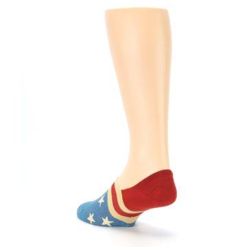 Image of Red Blue American Flag Men's Liner Socks (side-2-back-15)