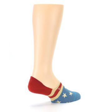 Image of Red Blue American Flag Men's Liner Socks (side-1-back-22)