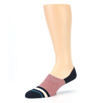 Image of Navy Red White Stripe Men's Liner Socks (side-2-09)