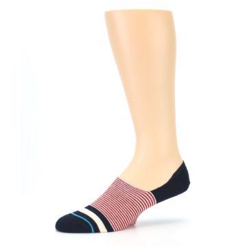 Image of Navy Red White Stripe Men's Liner Socks (side-2-10)