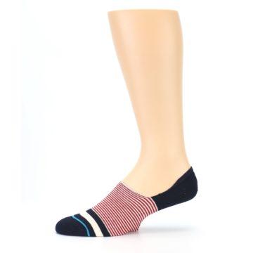 Image of Navy Red White Stripe Men's Liner Socks (side-2-11)