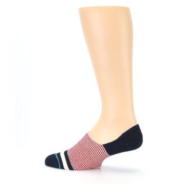 Image of Navy Red White Stripe Men's Liner Socks (side-2-13)