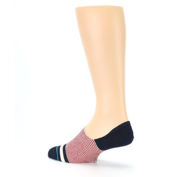 Image of Navy Red White Stripe Men's Liner Socks (side-2-back-14)
