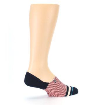 Image of Navy Red White Stripe Men's Liner Socks (side-1-23)