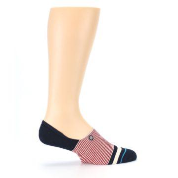 Image of Navy Red White Stripe Men's Liner Socks (side-1-24)