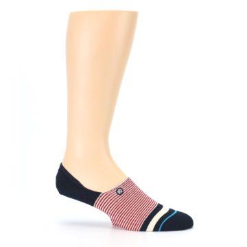 Image of Navy Red White Stripe Men's Liner Socks (side-1-25)