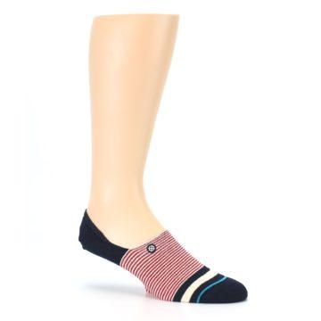 Image of Navy Red White Stripe Men's Liner Socks (side-1-26)