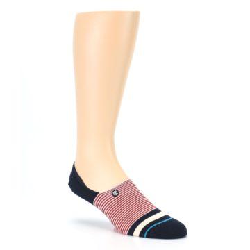 Image of Navy Red White Stripe Men's Liner Socks (side-1-27)