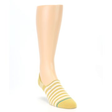 Image of Pale Canary White Stripe Men's Liner Socks (side-1-front-02)