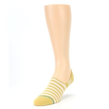 Image of Pale Canary White Stripe Men's Liner Socks (side-2-front-07)