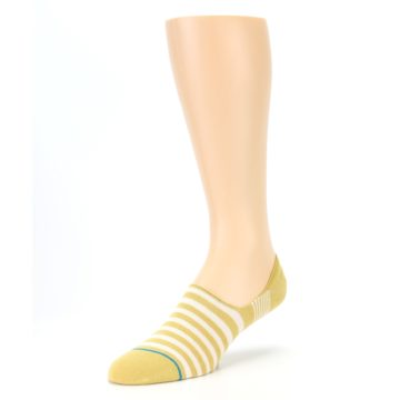 Image of Pale Canary White Stripe Men's Liner Socks (side-2-front-08)