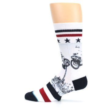 Image of White Evel Knievel Motorcycle Men's Casual Socks (side-2-12)
