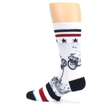 Image of White Evel Knievel Motorcycle Men's Casual Socks (side-2-13)