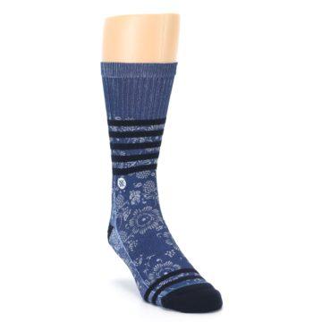 Image of Blue Black Patterned Men's Casual Socks (side-1-front-02)