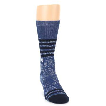 Image of Blue Black Patterned Men's Casual Socks (side-1-front-03)