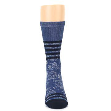 Image of Blue Black Patterned Men's Casual Socks (front-04)
