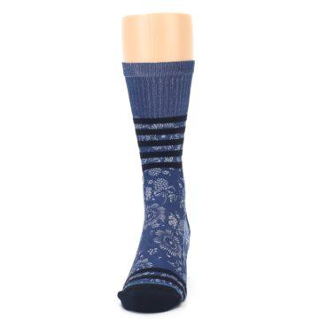 Image of Blue Black Patterned Men's Casual Socks (front-05)