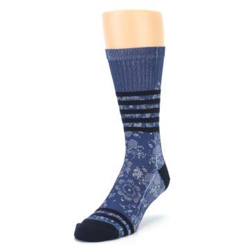Image of Blue Black Patterned Men's Casual Socks (side-2-front-07)