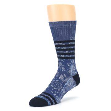 Image of Blue Black Patterned Men's Casual Socks (side-2-front-08)