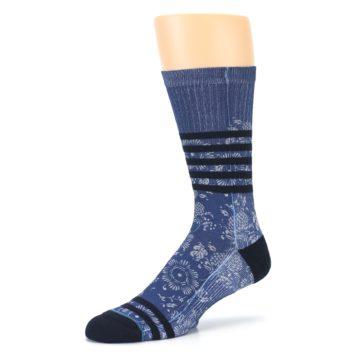 Image of Blue Black Patterned Men's Casual Socks (side-2-09)