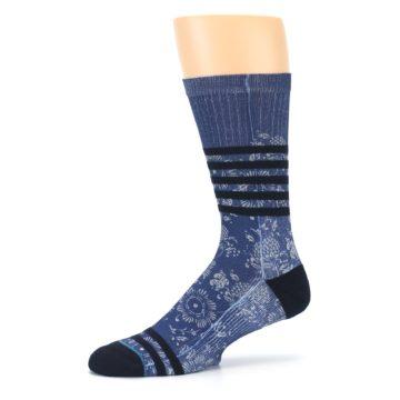Image of Blue Black Patterned Men's Casual Socks (side-2-10)