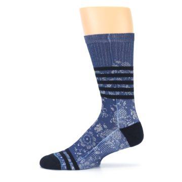 Image of Blue Black Patterned Men's Casual Socks (side-2-11)