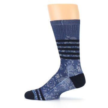 Image of Blue Black Patterned Men's Casual Socks (side-2-12)