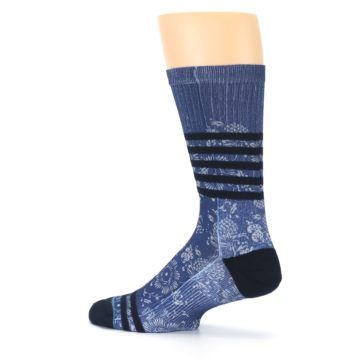 Image of Blue Black Patterned Men's Casual Socks (side-2-13)