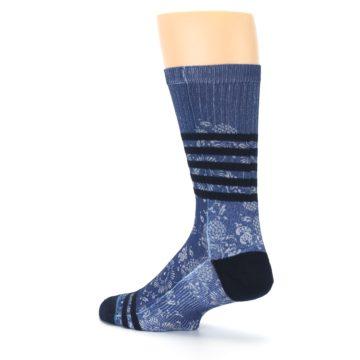 Image of Blue Black Patterned Men's Casual Socks (side-2-back-14)