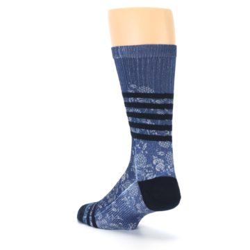 Image of Blue Black Patterned Men's Casual Socks (side-2-back-15)