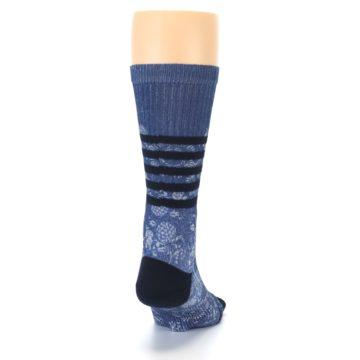 Image of Blue Black Patterned Men's Casual Socks (back-19)