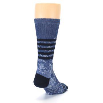 Image of Blue Black Patterned Men's Casual Socks (side-1-back-20)