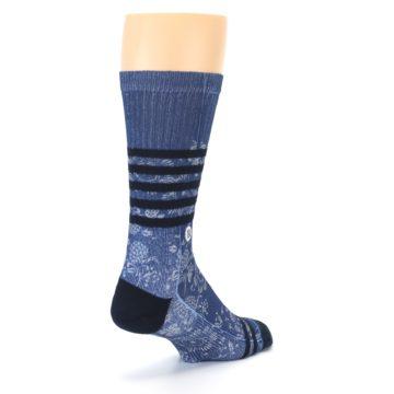 Image of Blue Black Patterned Men's Casual Socks (side-1-back-21)