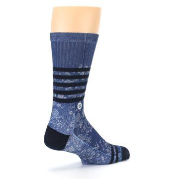 Image of Blue Black Patterned Men's Casual Socks (side-1-back-22)