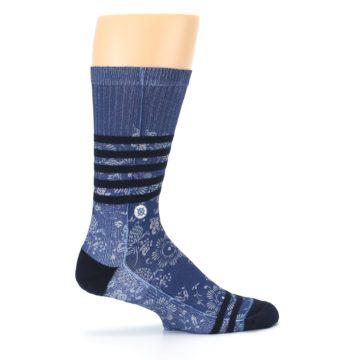 Image of Blue Black Patterned Men's Casual Socks (side-1-24)