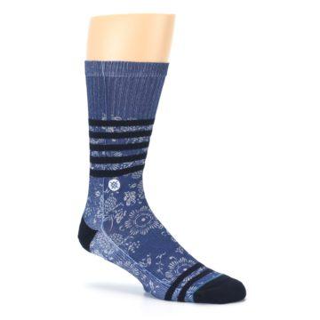 Image of Blue Black Patterned Men's Casual Socks (side-1-26)