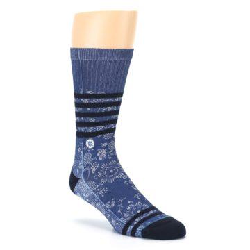 Image of Blue Black Patterned Men's Casual Socks (side-1-27)